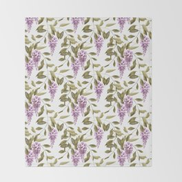 The Branches Of Wisteria .  White background . Throw Blanket
