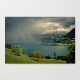 arising storm over lake lucerne Canvas Print