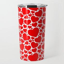 Red Hearts Pattern Travel Mug