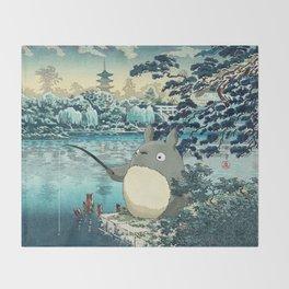 Japanese woodblock mashup Throw Blanket