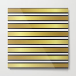Luxe Gold Metallic and Black Stripes Pattern Metal Print