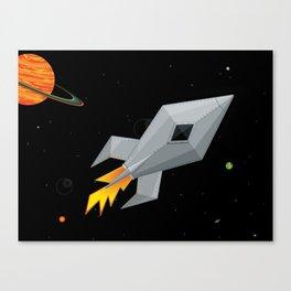 Cute Metal Rocket Ship Canvas Print