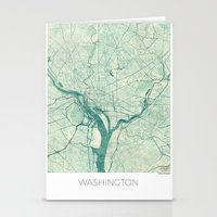 washington Stationery Cards featuring Washington Map Blue Vintage by City Art Posters