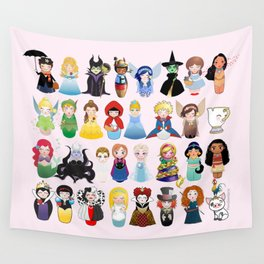 Cute kokeshis fairy tales Wall Tapestry