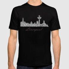 Liverpool City Skyline MEDIUM Mens Fitted Tee Black