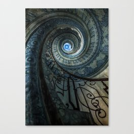 Decorated spiral staircase in blue tones Canvas Print