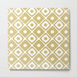 Mid Century Modern Diamond Dot Pattern 415 Gold Metal Print