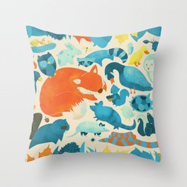 Wildlife Collage Woodland Creatures and Cute Animals Throw Pillow