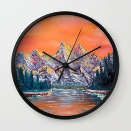 Mountains landscape at sunset Wall Clock