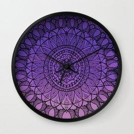 Purple Ombre Boho Mandala Wall Clock