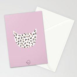 Litte leopard kitty cat animal print girls illustration pink Stationery Cards