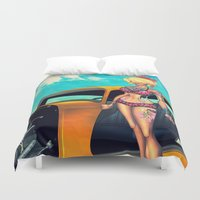 rockabilly Duvet Covers featuring Rockabilly babe by Quetzal Revolver
