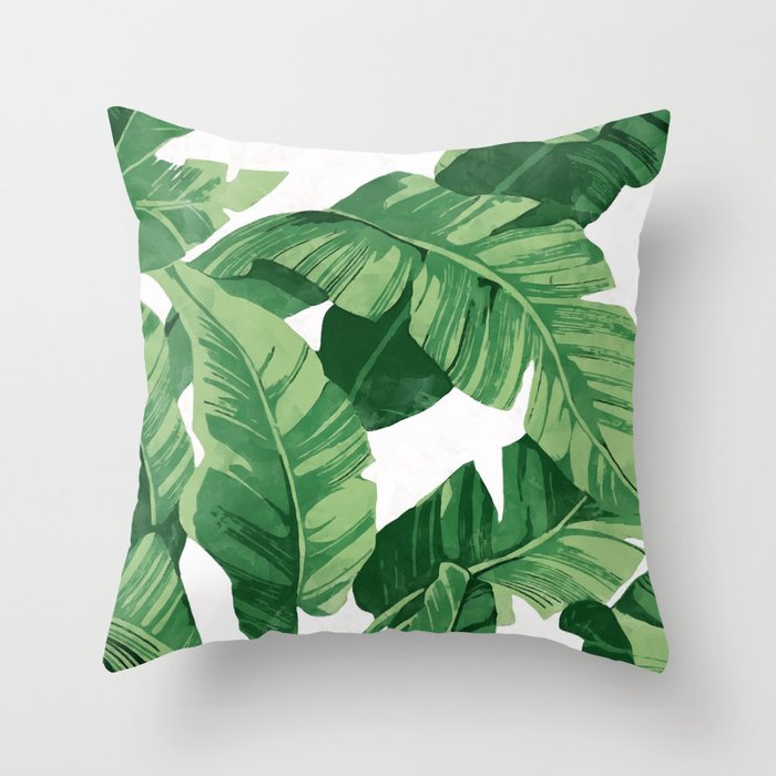 Tropical banana leaves IV Throw Pillow