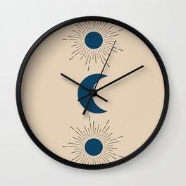 Blue Sun and Moon Wall Clock