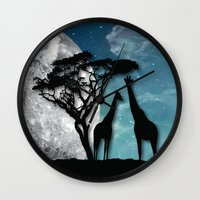 african Wall Clocks featuring African Nights by Bakmann Art