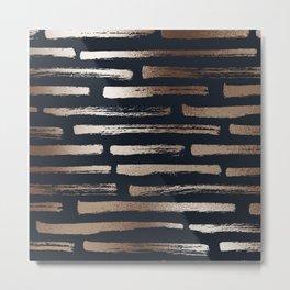 Modern Home Navy & Bronze Brush Stroke Stripe Pattern Metal Print
