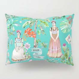 Frida Kahlo Botanics - Emerald Green Pillow Sham