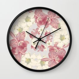Pink and white floral Wall Clock