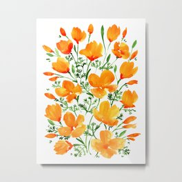 Watercolor California poppies Metal Print