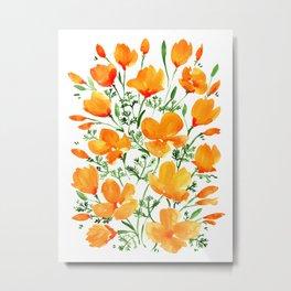 Watercolor California poppies Metal Print
