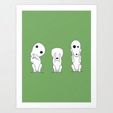 Three wise Kodamas Art Print