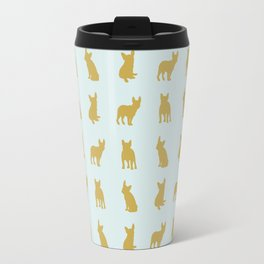 Gold and turquoise French Bulldogs pattern Travel Mug