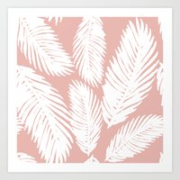 White Tropical Palm Tree Fern Leaf on Rose Gold Pattern Art Print