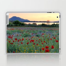 Red Poppies. Sunset at the lake Laptop & iPad Skin