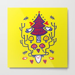 Xmas tree Yellow Land Metal Print