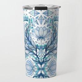 Lily, Leaf & Triangle Pattern – blues Travel Mug