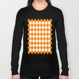 Diamonds (Orange/White) Long Sleeve T-shirt