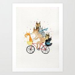Cycling pets Art Print