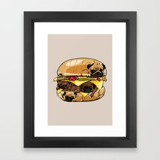 Pugs Burger Framed Art Print