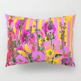 YELLOW BUTTERFLIES  PINK FLORAL GARDEN  ABSTRACT Pillow Sham