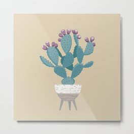 Prickly pear cactus in a basket planter Metal Print