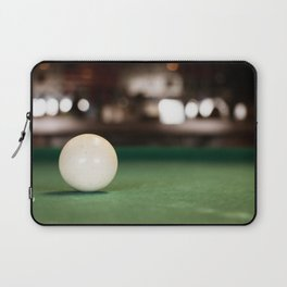 A white pool ball closeup, isolated, on the pool table, bar blurred background. Laptop Sleeve