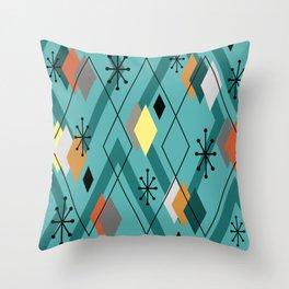 Mid Century Modern Scattered Diamonds Turquoise Throw Pillow