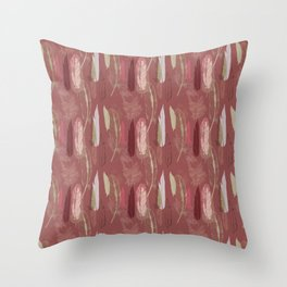 Feather Pattern in Marsala Wine Throw Pillow