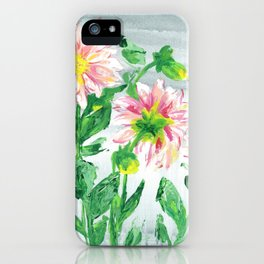 Dahlias on a cloudy day iPhone Case