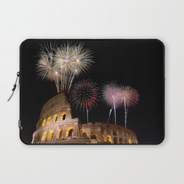 Colosseum illuminated with fireworks in Rome. Laptop Sleeve