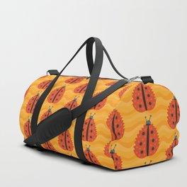 Orange Ladybug Autumn Leaf Duffle Bag