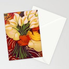 Sleeping Young Woman (Frida Kahlo) with Lilies portrait painting by Diego Rivera Stationery Cards