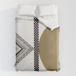 Geometric Shapes with Gold, Copper and Silver Duvet Cover