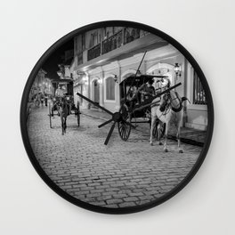 Vigan City, Philippines (black and white) Wall Clock
