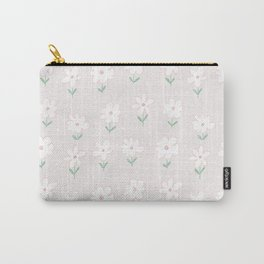 Hand painted blush pink white floral polka dots illustration Carry-All Pouch