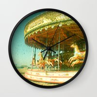 carousel Wall Clocks featuring Carousel by Cassia Beck
