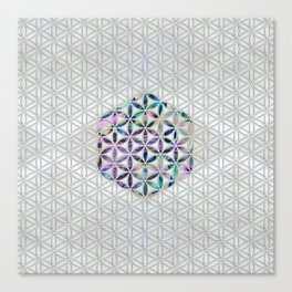 Flower of life Abalone shell on pearl Canvas Print