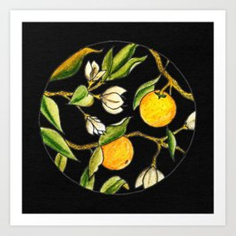 Orange Tree Circular Illustration Design On Textured Black Background Art Print