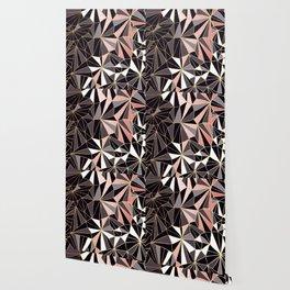 Stylish Art Deco Geometric Pattern - Black, Coral, Gold #abstract #pattern Wallpaper