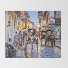 Rush Hour in Vigan City Throw Blanket